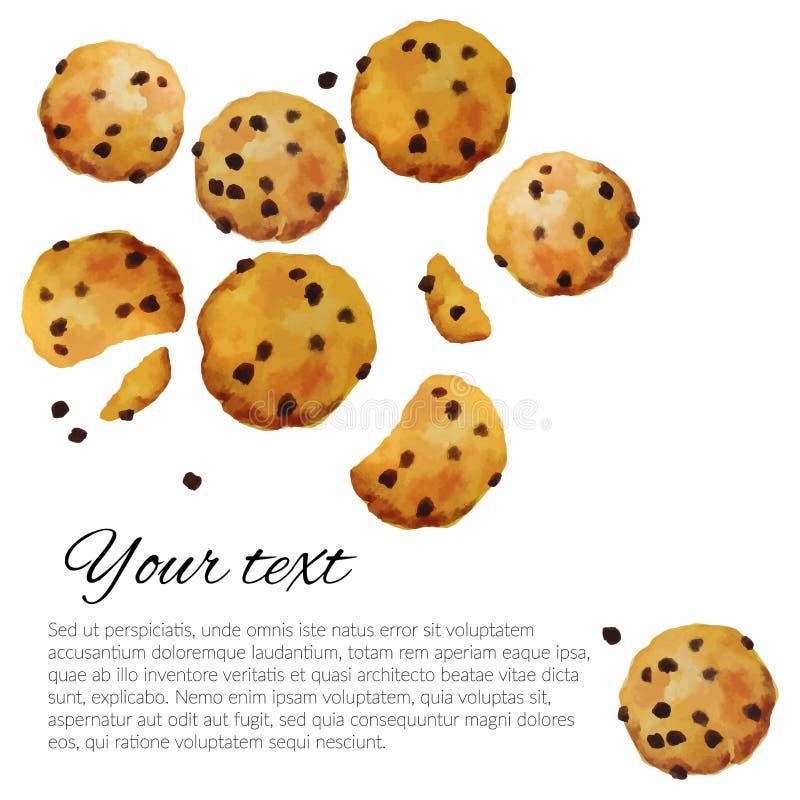 与手拉巧克力的水彩的传染媒介曲奇饼 皇族释放例证