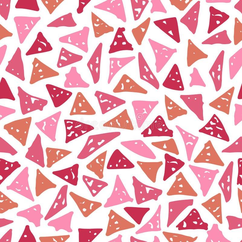 与手拉的三角的时兴的无缝的样式 库存例证