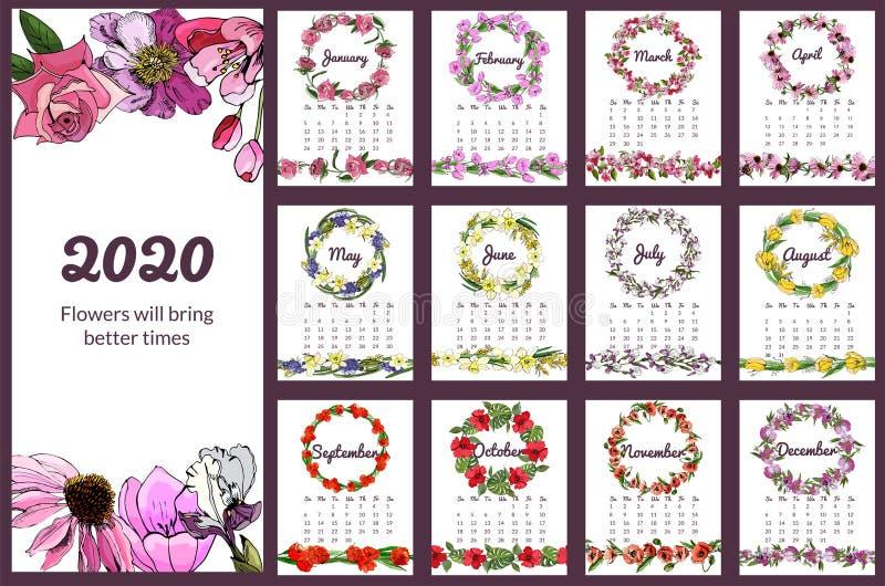 与手拉的不同的花的日历2020年在剪影样式 设置与花卉花圈和不尽的刷子12个月 库存例证