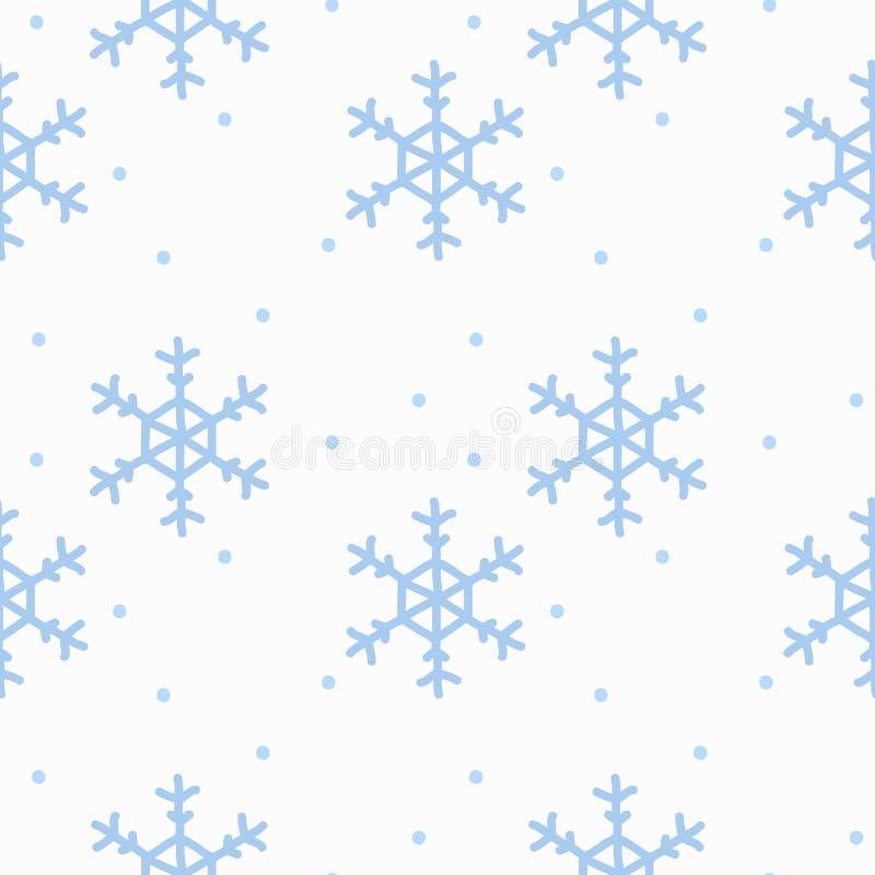 与手拉的乱画水彩雪花的无缝的样式 在白色背景的冬天样式 皇族释放例证