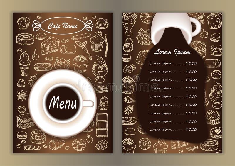 与手拉的乱画元素的咖啡馆菜单 向量例证