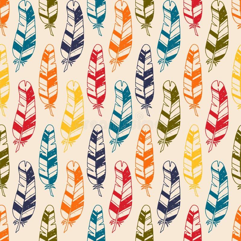 与手拉的乱画羽毛的无缝的样式 纺织品、印刷品或者墙纸的阿兹台克传染媒介元素 向量例证