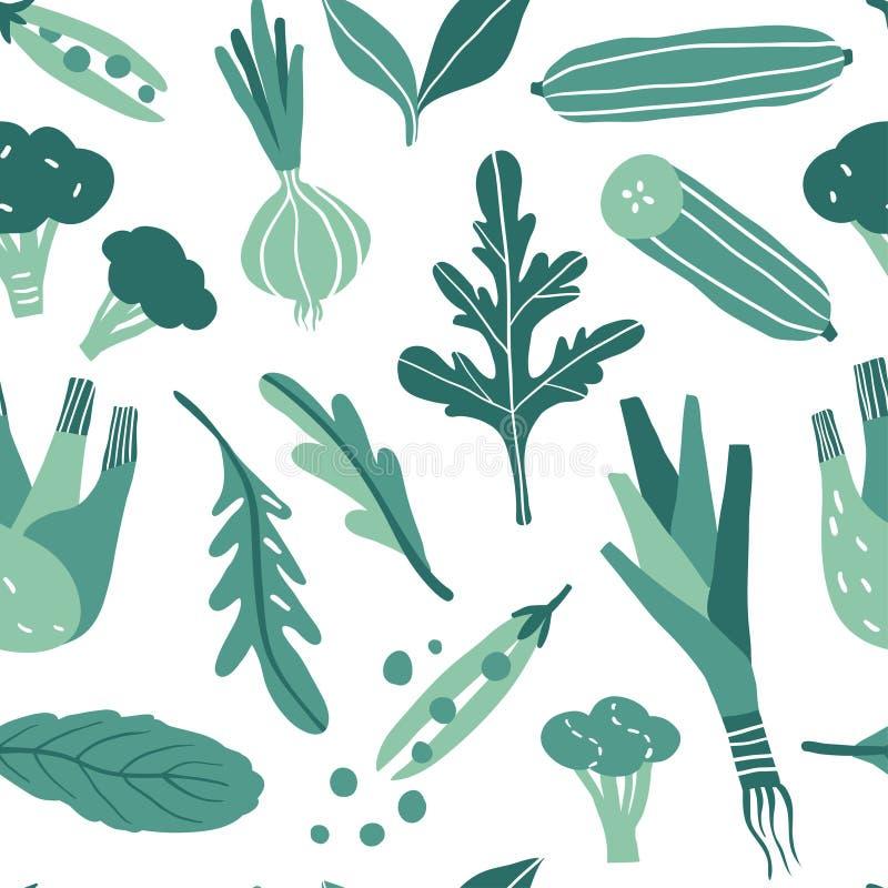 与手拉的五颜六色的乱画绿色菜的无缝的样式 皇族释放例证