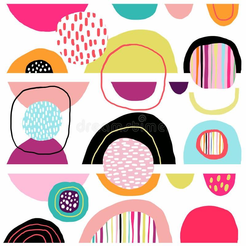 与手拉的五颜六色的形状的摘要装饰无缝的样式 皇族释放例证