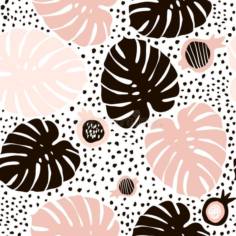 与手拉的元素的棕榈分支时髦无缝的样式 Monstera叶子背景 伟大为织品,纺织品传染媒介Illustrat 皇族释放例证