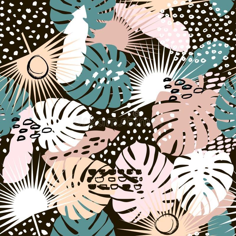 与手拉的元素的棕榈分支时髦无缝的样式 Monstera叶子背景 伟大为织品,纺织品传染媒介Illustrat 向量例证