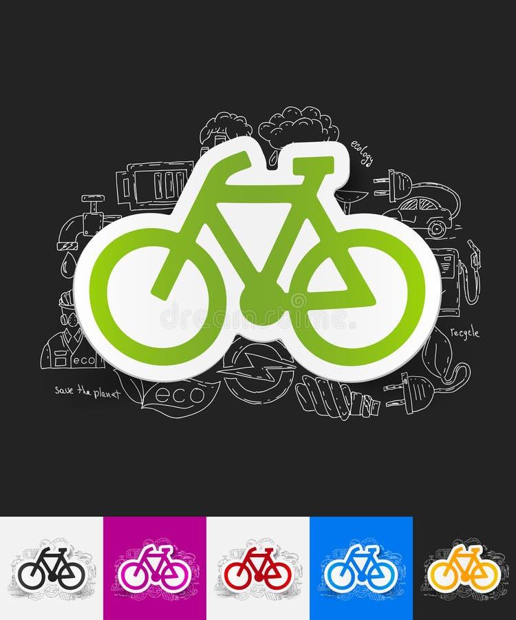 与手拉的元素的自行车纸贴纸 向量例证