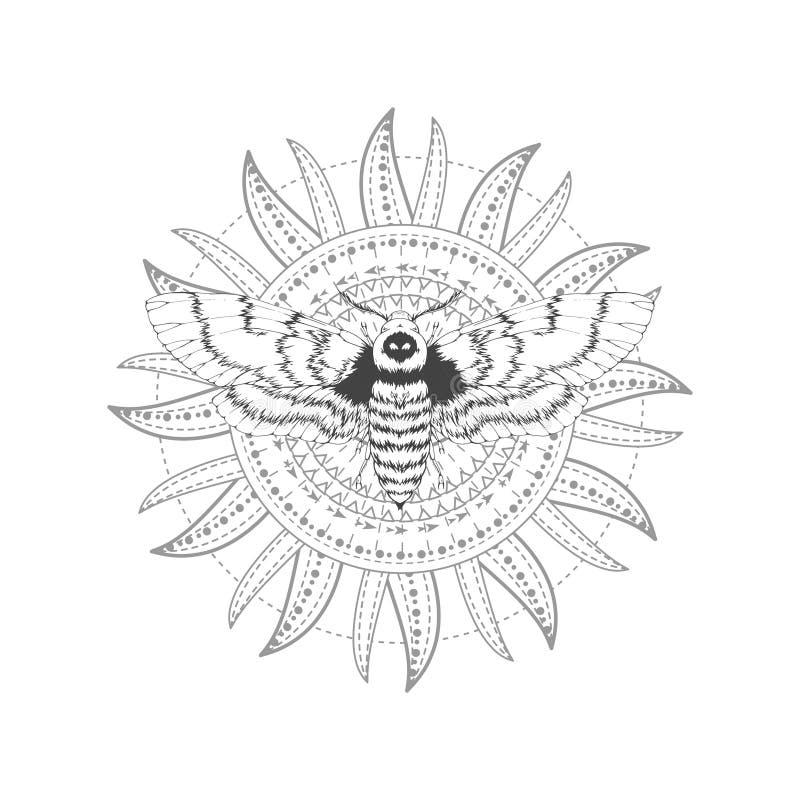 与手拉的免票的人飞蛾的传染媒介例证和在白色背景的神圣的标志 抽象神秘的标志 库存例证