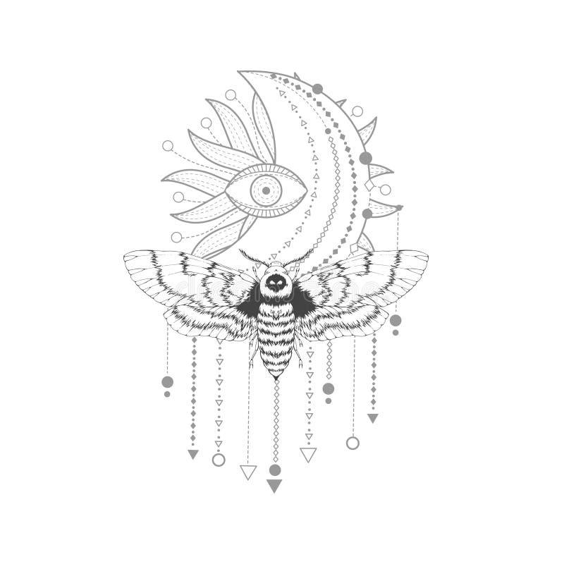 与手拉的免票的人飞蛾的传染媒介例证和在白色背景的神圣的标志 抽象神秘的标志 向量例证