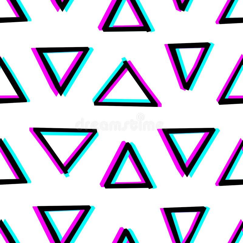 与手拉的几何形状的无缝的装饰样式 3d立体镜作用 皇族释放例证
