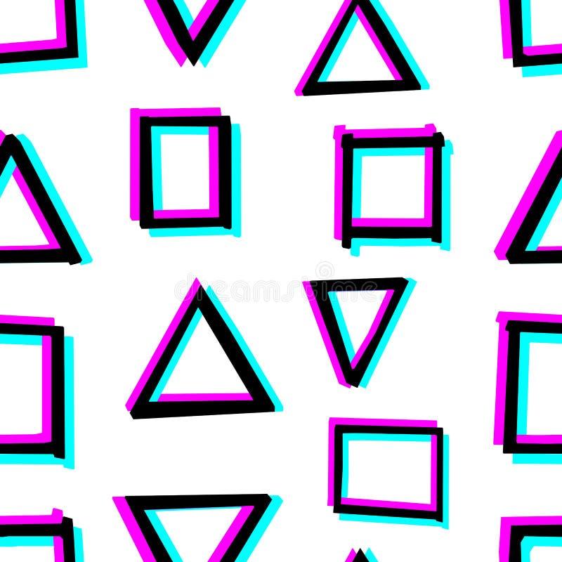 与手拉的几何形状的无缝的装饰样式 3d立体镜作用 库存例证