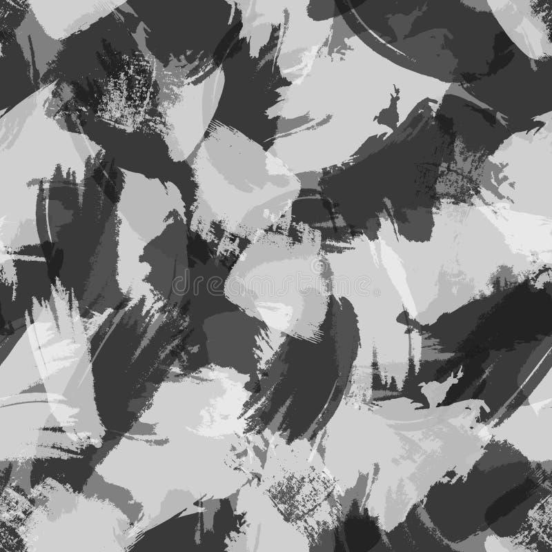 与手拉的刷子冲程的灰色极谱几何墨水难看的东西无缝的样式 皇族释放例证