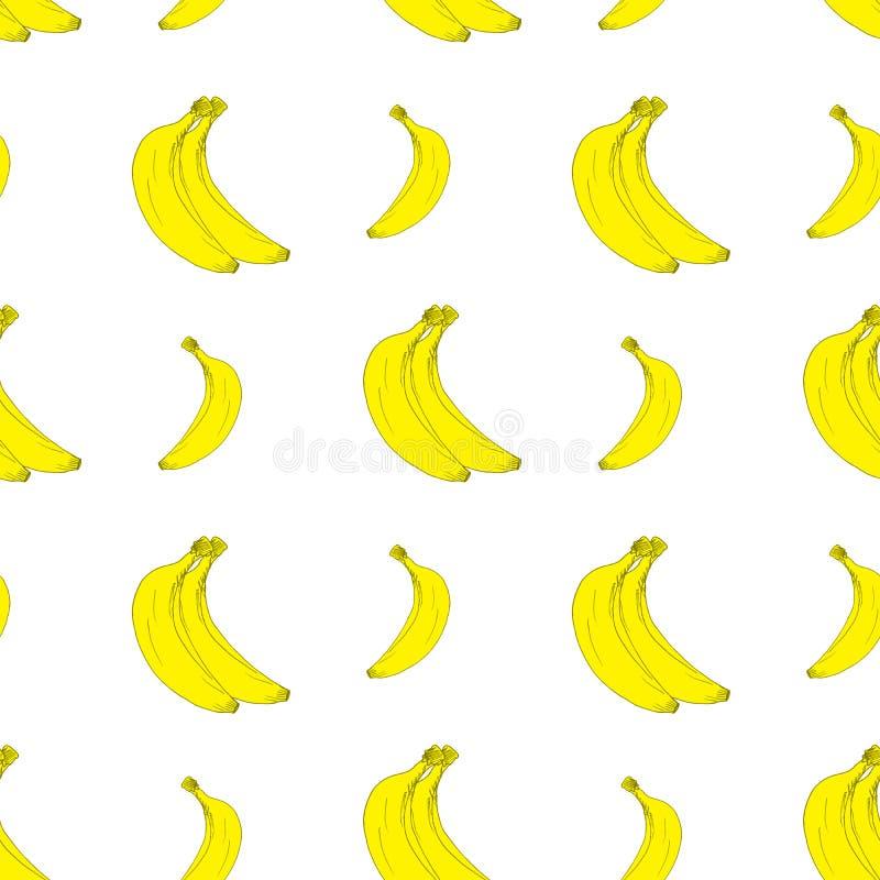 与手拉的剪影香蕉传染媒介例证的果子背景无缝的样式 库存例证