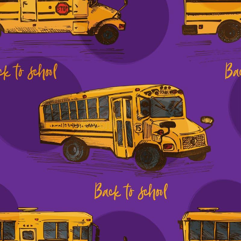 与手拉的剪影黄色公共汽车,回到学校题材,教育概念颜色的被隔绝的背景的无缝的样式 向量例证