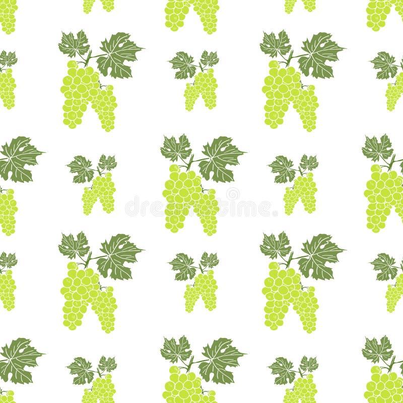与手拉的剪影绿色葡萄传染媒介例证的果子背景无缝的样式 库存例证