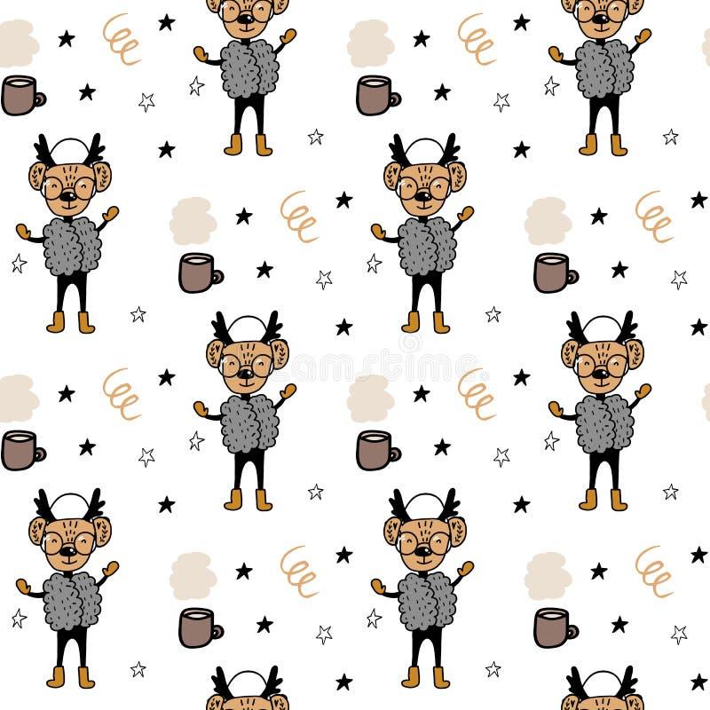 与手拉的动画片动物鹿的无缝的样式在衣裳和分支 圣诞节动物样式 动画片逗人喜爱的例证 皇族释放例证
