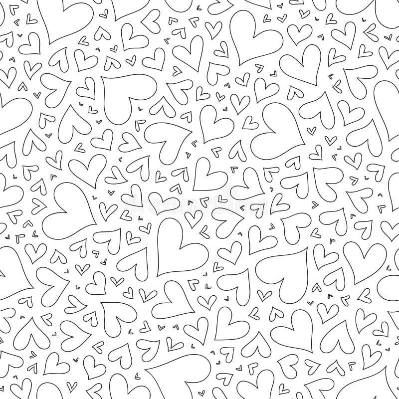 与手拉的单色心脏的无缝的样式在zentangle 皇族释放例证