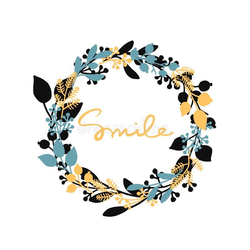 与手拉的叶子花圈的传染媒介愉快的背景和黄色词微笑 皇族释放例证