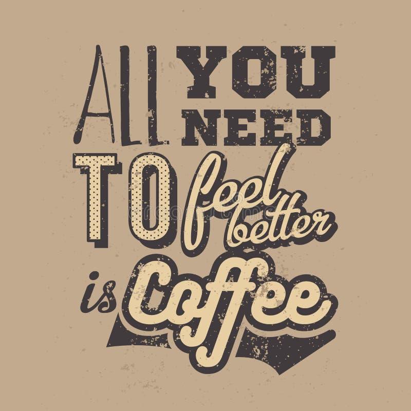 与手拉的咖啡口号的海报 创造性的向量例证 向量例证