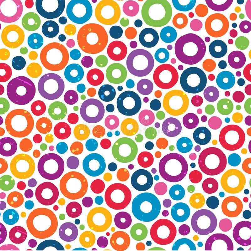 与手拉的圈子的五颜六色的无缝的样式。 库存例证