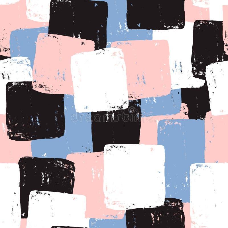 与手拉的墨水形状的无缝的样式 时髦抽象手拉的背景 伟大为织品,纺织品,包裹 传染媒介il 库存例证