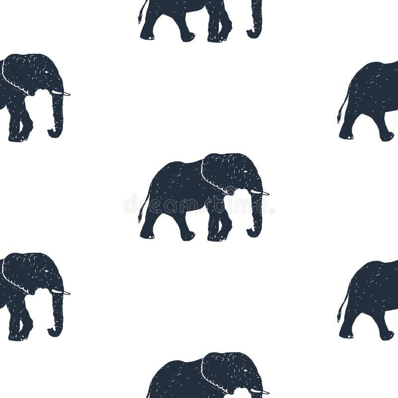 与手拉的大象传染媒介例证的无缝的样式 库存例证