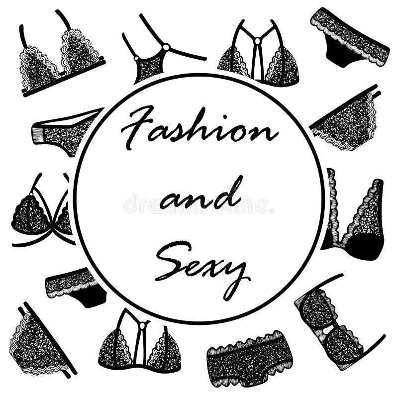 与手拉的妇女的鞋带内衣的背景 向量例证