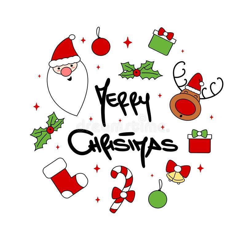与手拉的字法圣诞快乐文本,礼物,圣诞老人,棒棒糖,袜子,响铃,星的逗人喜爱的动画片圈子模板 向量例证