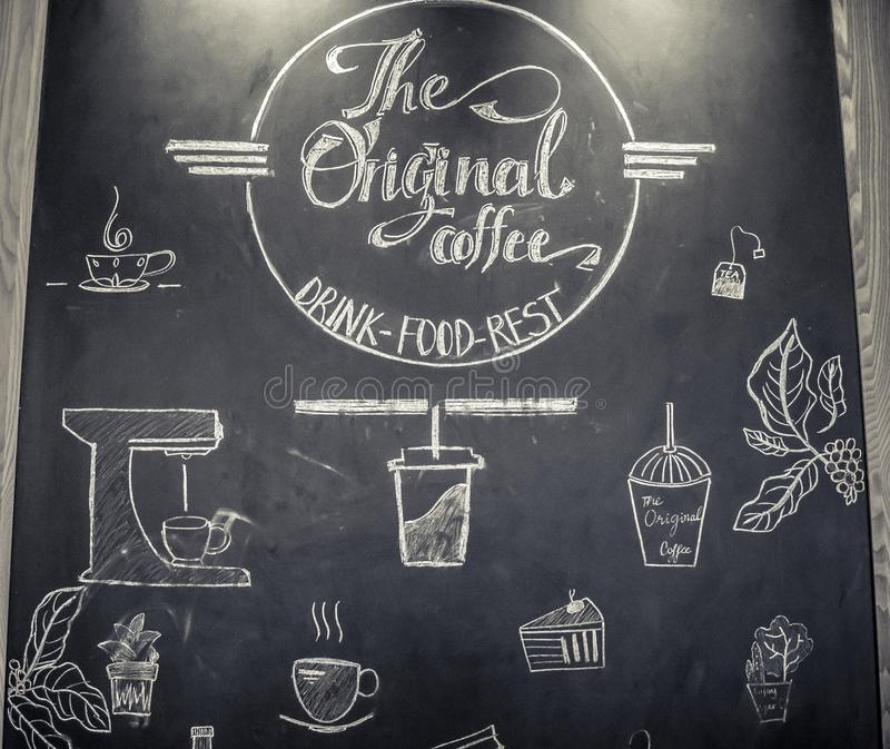 与手拉的字法的海报咖啡 免版税库存照片