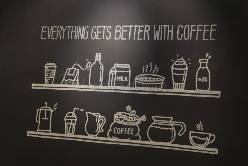 与手拉的字法的海报咖啡 库存照片