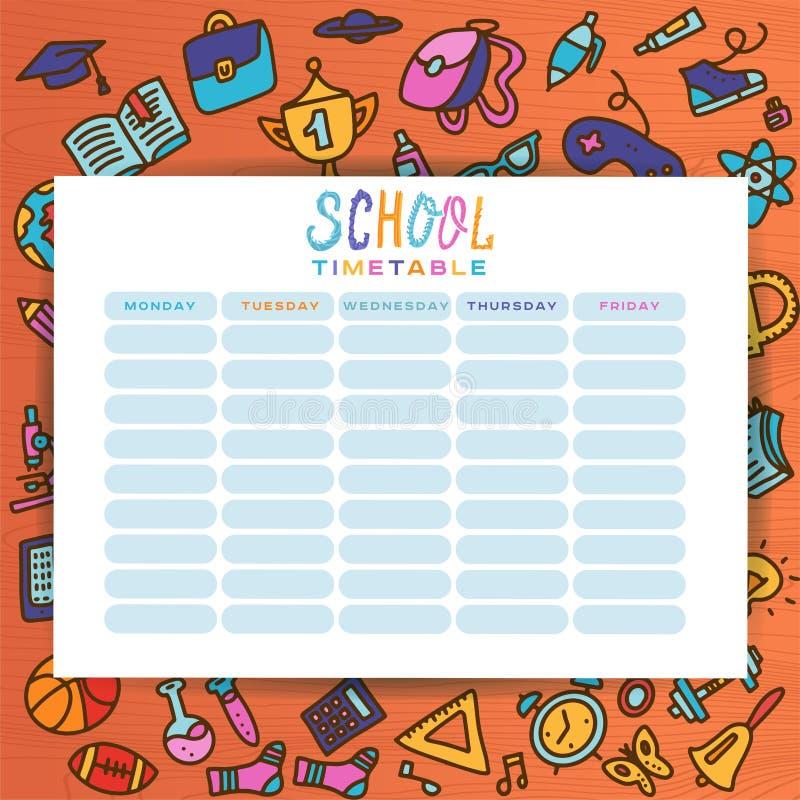 与手拉的学校用品的计划者模板 形式,组织者,印刷品的计划目录Doole平的手拉的样式 库存例证