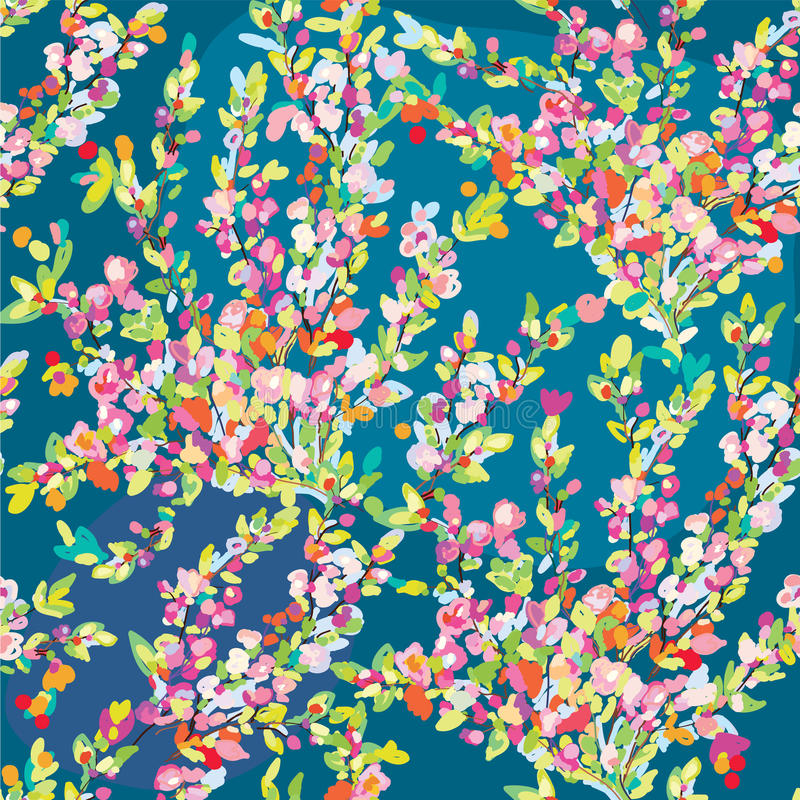 与手拉的开花的花卉无缝的样式开花在春天 库存例证