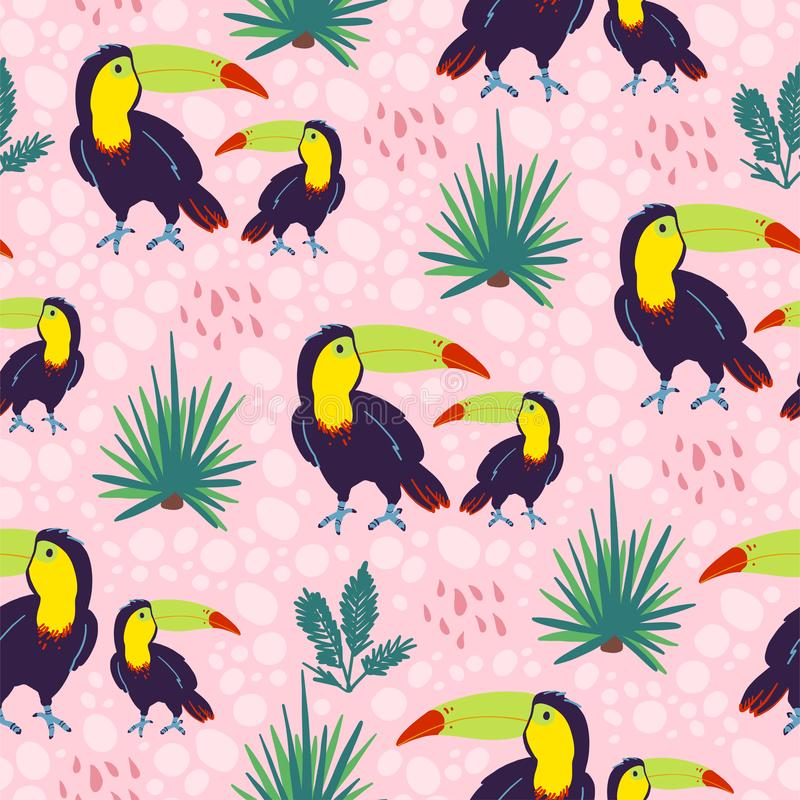 与手拉的异乎寻常的热带toucan鸟和花卉狂放的在桃红色backgro隔绝的自然元素的传染媒介平的无缝的样式 库存例证