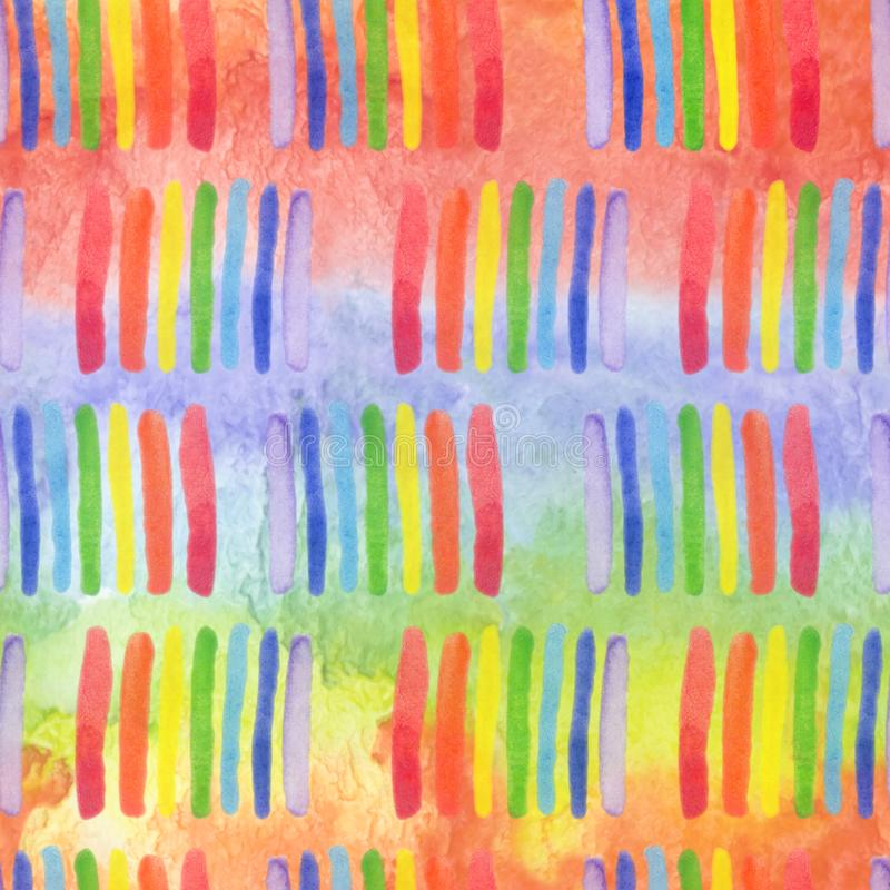 与手拉的彩虹刷子srtipes的明亮的现代无缝的样式 孩子纺织品的水彩彩虹,织品印刷品,电话 皇族释放例证