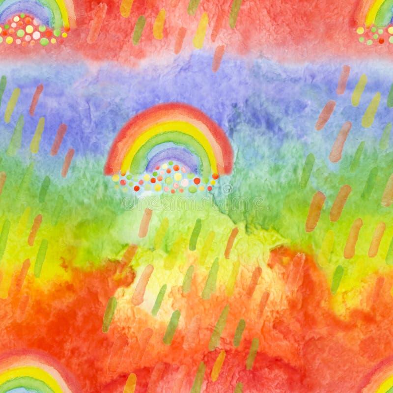 与手拉的彩虹和多雨下落的明亮的现代无缝的样式 孩子纺织品的水彩彩虹,织品印刷品, 皇族释放例证