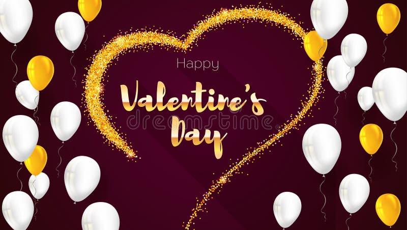 与手拉的心脏和飞行可膨胀的气球的贺卡 从沙子,与闪烁的stardust的金黄心脏 库存例证
