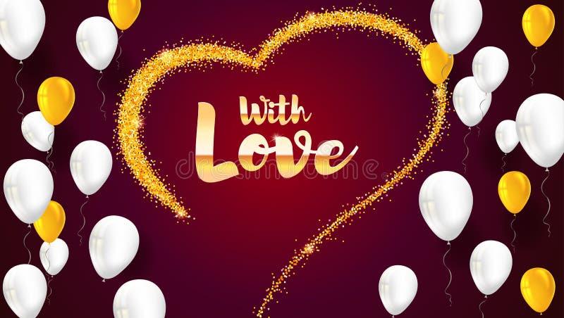 与手拉的心脏和飞行可膨胀的气球的贺卡 从沙子,与闪烁的stardust的金黄心脏 向量例证