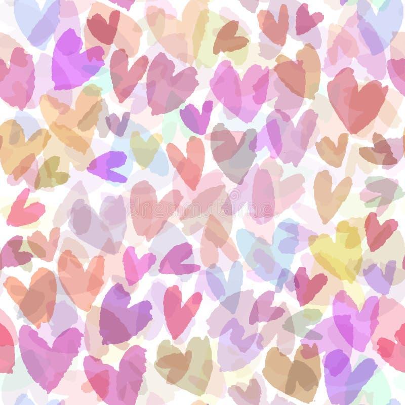 与手拉的心脏的无缝的传染媒介样式 与桃红色心脏的浪漫背景 背景无缝的向量 皇族释放例证