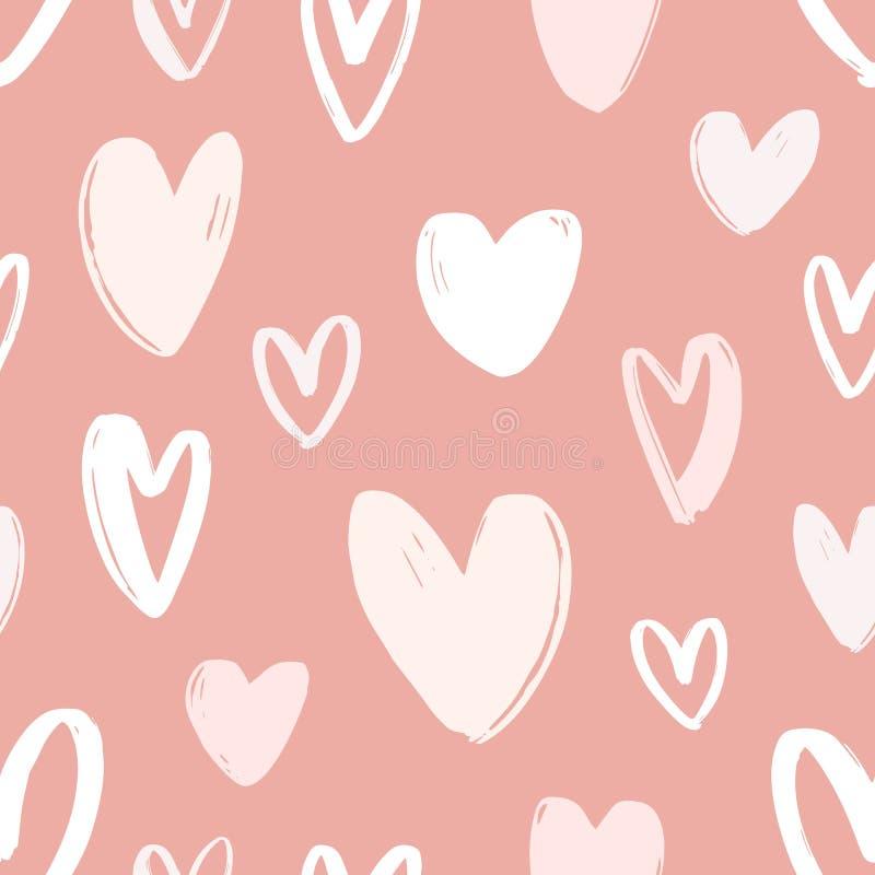 与手拉的心脏的无缝的样式在桃红色背景 充满爱,激情和约会标志的装饰背景 皇族释放例证