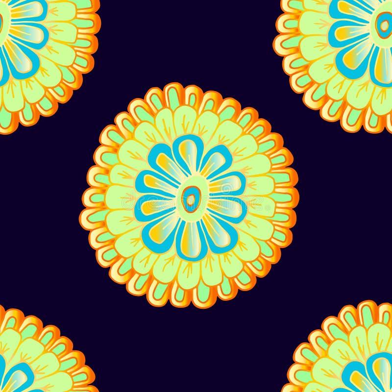 与手拉的明亮的抽象花的无缝的样式 库存例证