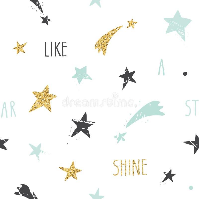与手拉的星的逗人喜爱的滑稽的无缝的样式背景和激动人心的手写的行情发光象星 闪烁,浆糊 皇族释放例证