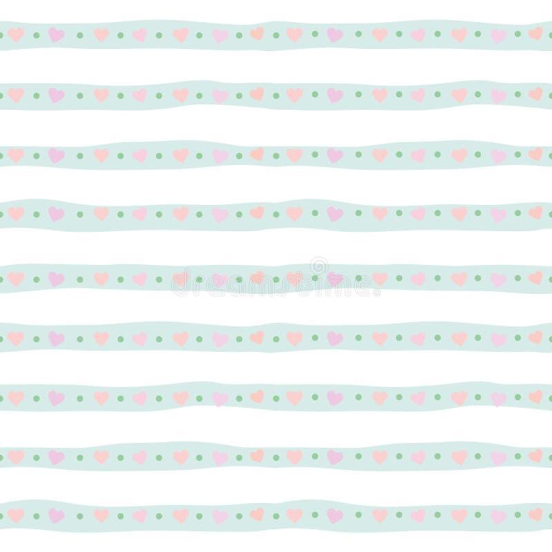 与手拉的条纹的逗人喜爱的无缝的样式在淡色蓝色 对印刷品和网 向量例证