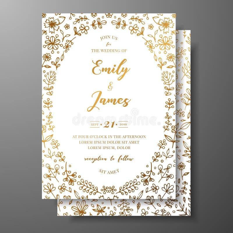 与手拉的枝杈、花和brahches的金黄传染媒介婚礼邀请 婚姻的金黄植物的模板 皇族释放例证