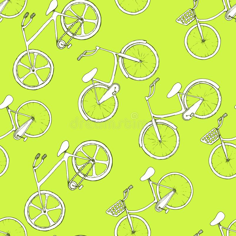 与手拉的概述自行车的无缝的样式 对角地在绿色背景的被配置的白色轮子 体育设计 向量例证