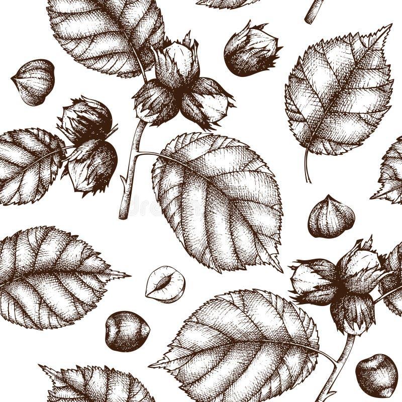 与手拉的榛子例证的传染媒介背景 葡萄酒坚果剪影 有机食品无缝的样式 向量例证