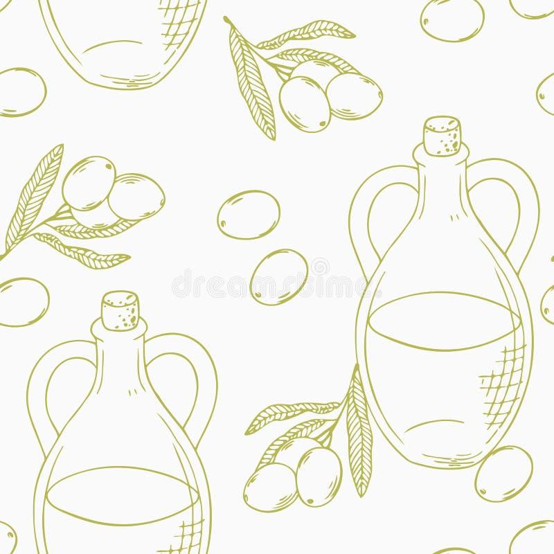 与手拉的橄榄油的概述无缝的样式 库存例证