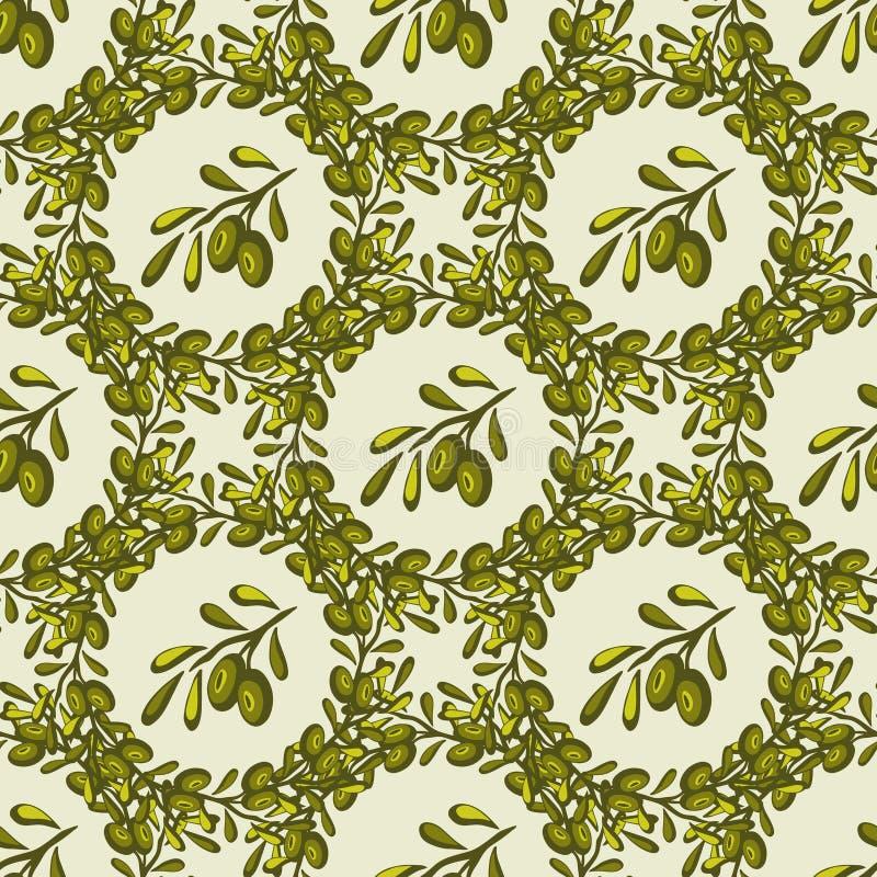 与手拉的橄榄色的早午餐的无缝的传染媒介样式 橄榄色背景 库存例证