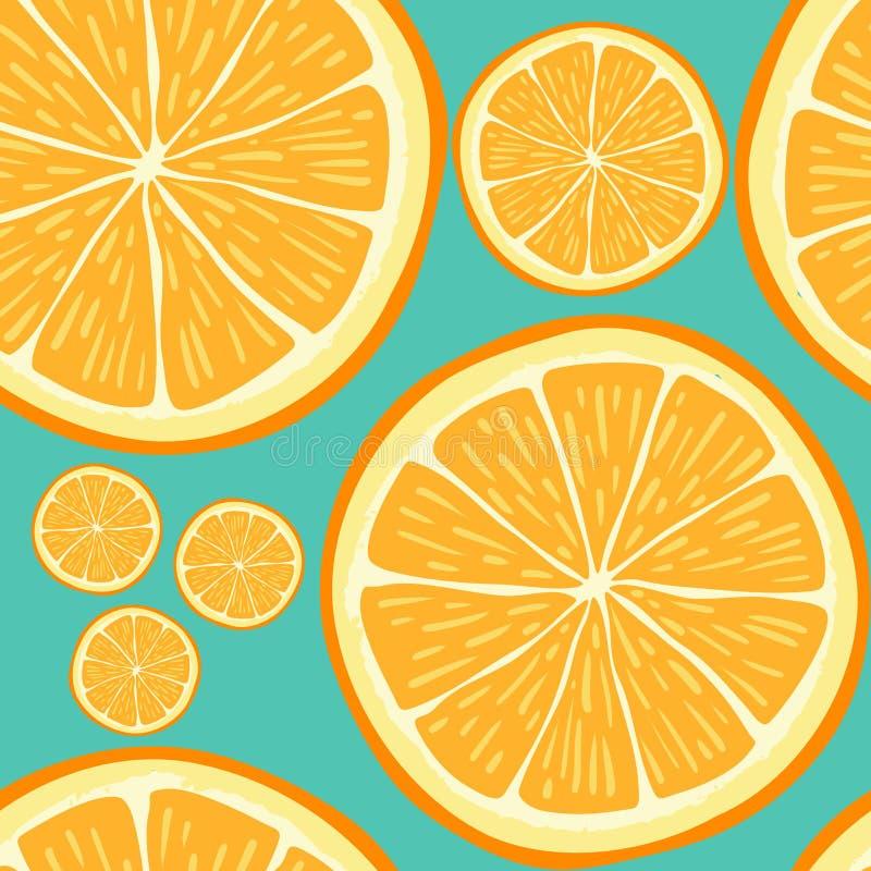 与手拉的橙色切片的无缝的样式 库存例证