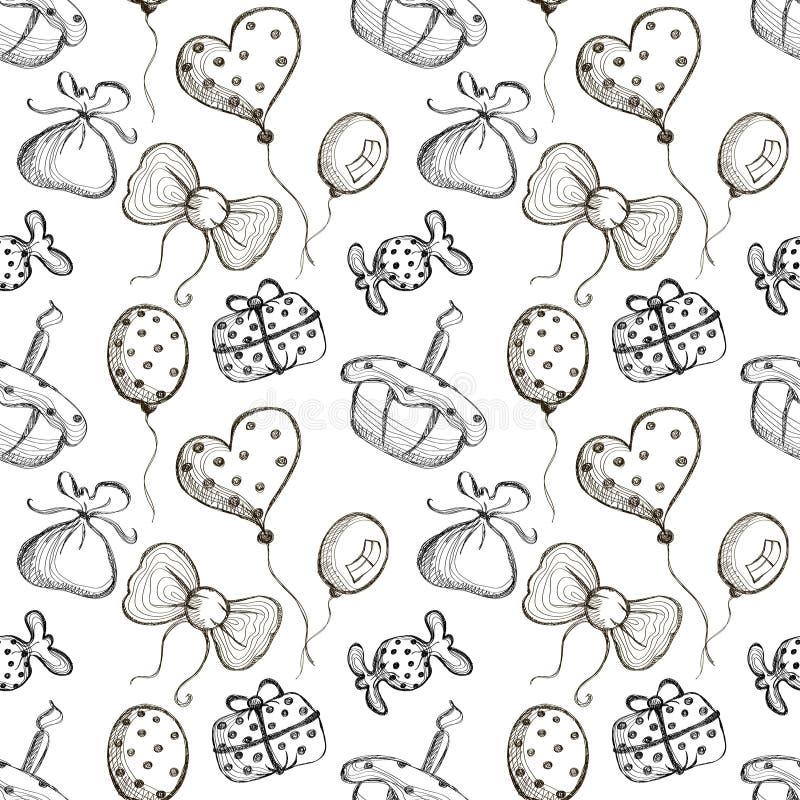 与手拉的气球,弓,礼物,蛋糕,在白色背景的糖果的无缝的传染媒介样式 向量例证