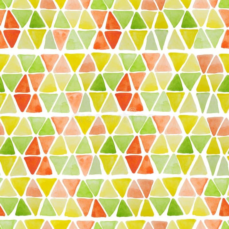 与手拉的水彩正方形和三角的几何无缝的样式 与trian的现代五颜六色的马赛克摘要背景 皇族释放例证